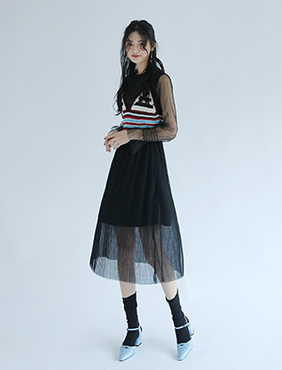 Knit Bustier and Pleated Dress Set