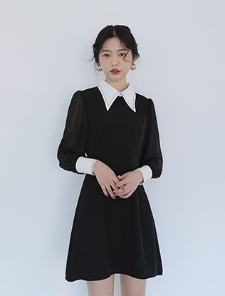 Contrast Collar Black Dress