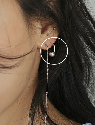 Sphere Accent Hoop Earrings