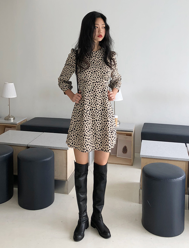 Beige Leopard Midi Dress