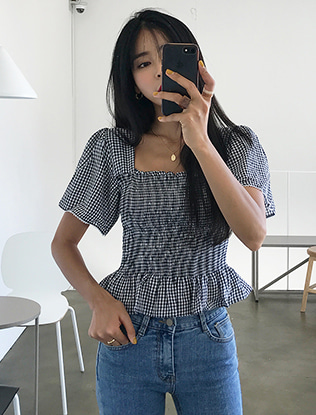Smocked Short Sleeve Blouse